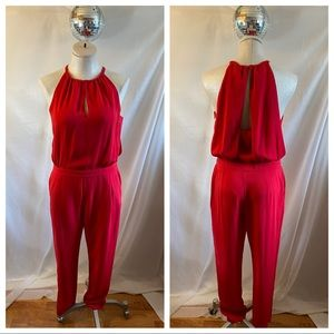 Zara Red High Neck Draped Open Back Pant Jumpsuit